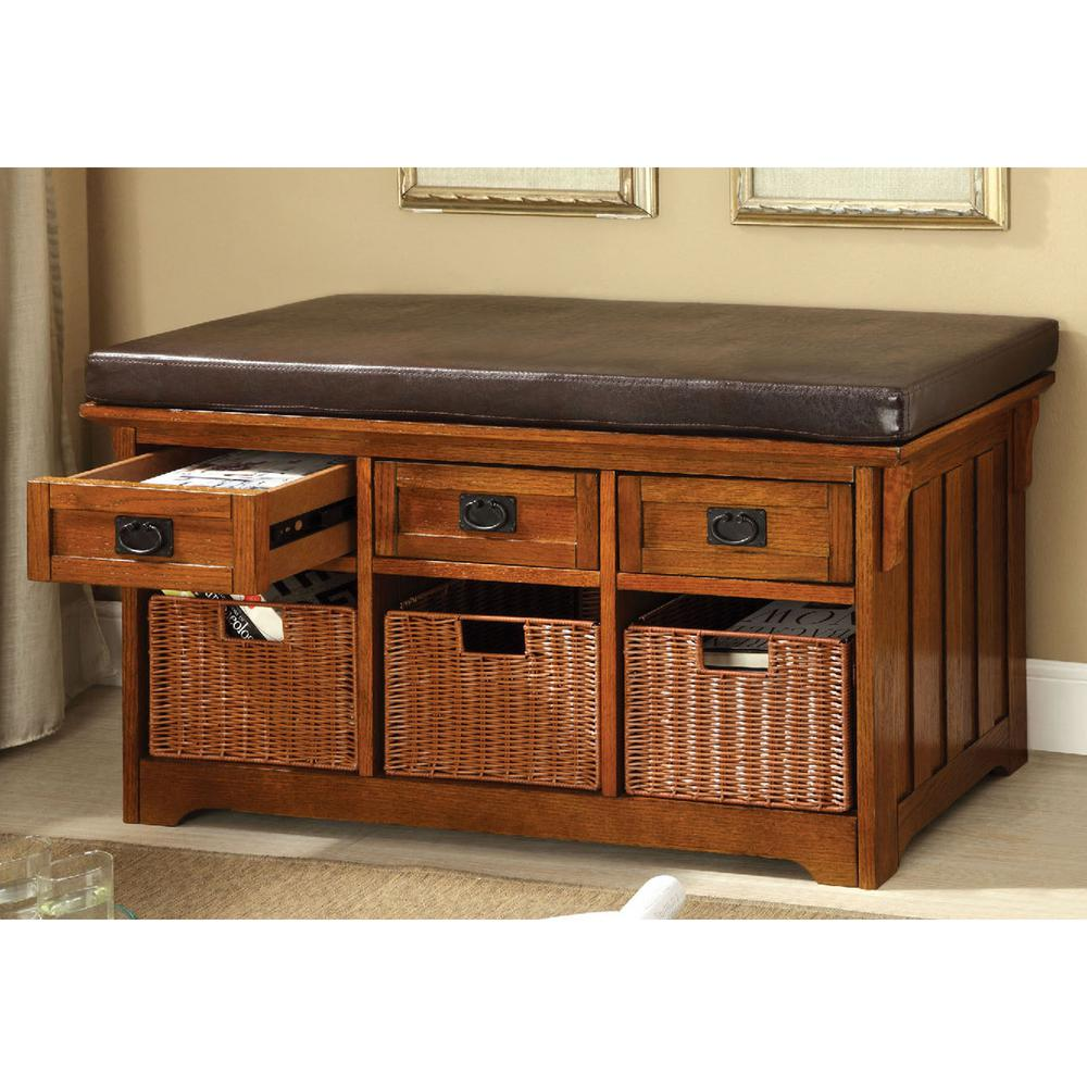 Venetian Worldwide Nelson Antique Oak Storage Bench