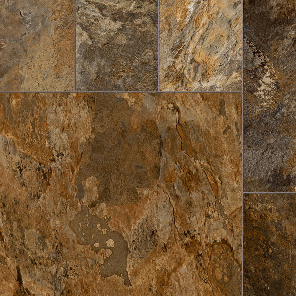 Trafficmaster Quarry Stone Slate Rust 13 2 Ft Wide Residential Vinyl Sheet C6750185k965p15 The Home Depot