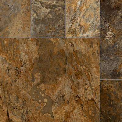 Quarry Stone Slate Rust 13.2 ft. Wide x Your Choice Length Residential Vinyl Sheet Flooring