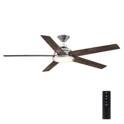 Haverbrook 60 in. LED Polished Nickel Ceiling Fan with Light