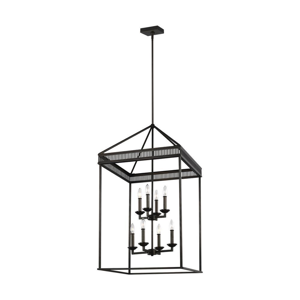 Feiss Woodruff 8-Light Antique Bronze Modern Multi-Tier Industrial Hanging Candlestick Lantern Chandelier