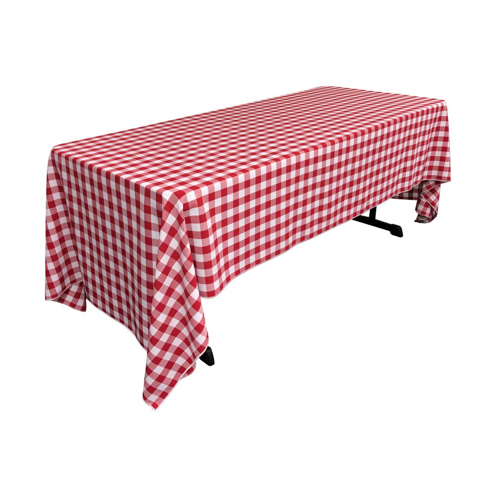 LA Linen 60 In. X 120 In. White And Red Polyester Gingham Checkered  Rectangular