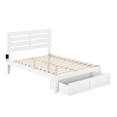 Oxford White Full Bed with Foot Drawer and USB Turbo Charger
