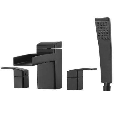 Kenzo 2-Handle Waterfall Deck Mount Roman Tub Faucet Trim with Handshower in Matte Black