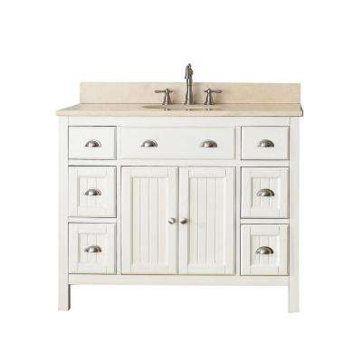 Hamilton 43 in. W x 22 in. D x 35 in. H Vanity in French White with Marble Vanity Top in Galala Beige with White Basin