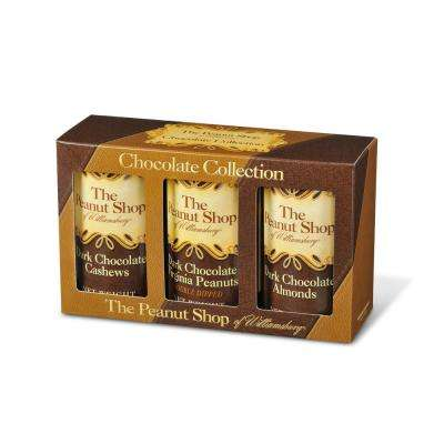 Dark Chocolate Gift Box with Dark Choc Peanuts, Dark Choc Almonds and Dark Choc Cashews (3-Pack)