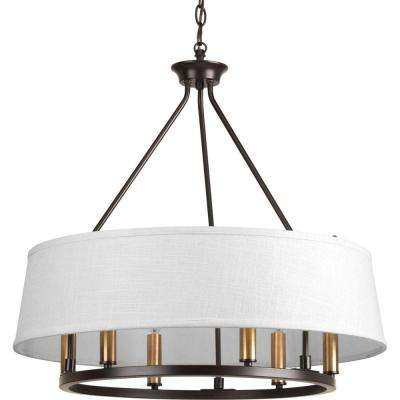 Cherish Collection 6-Light Antique Bronze Chandelier with Summer Linen Shade