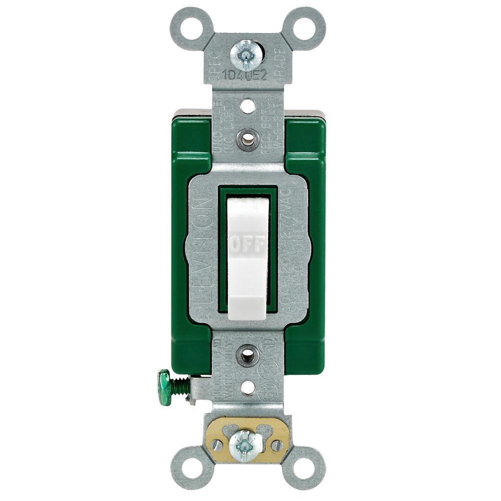 Leviton 30 Amp Industrial Double Pole Switch, White on