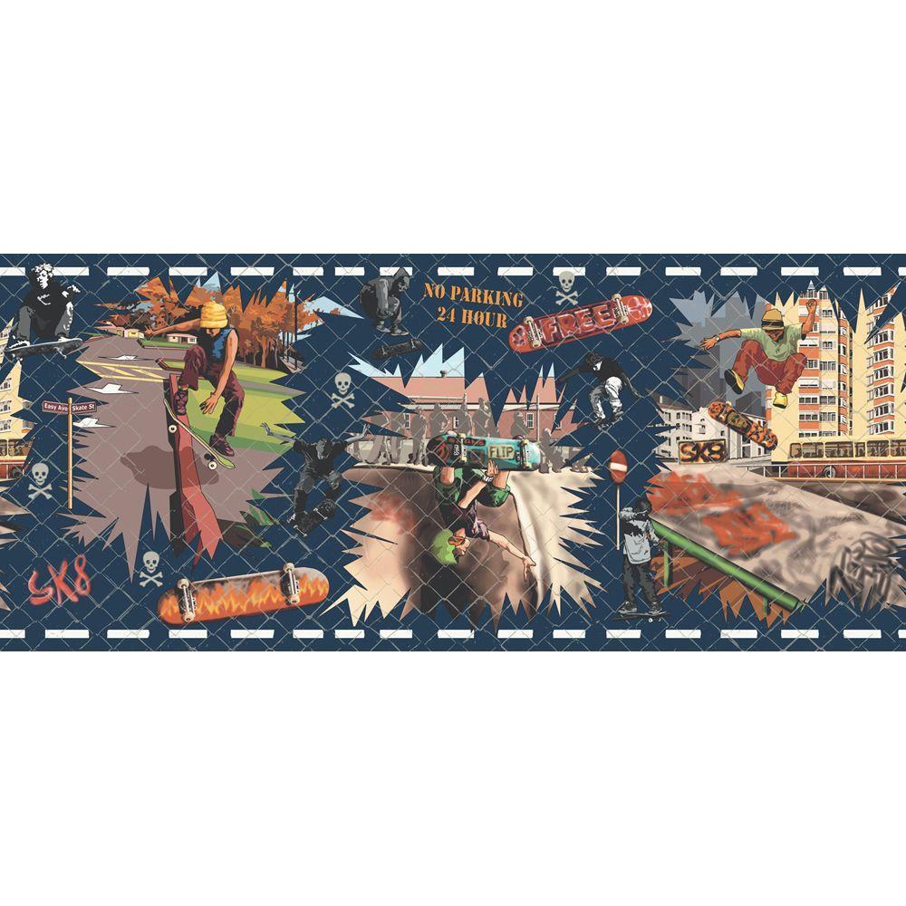 The Wallpaper Company 9 in. x 15 ft. Jewel Tone Sk8 Border
