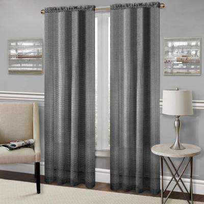 Richmond Black Polyester Rod Pocket Curtain - 52 in. W x 84 in. L