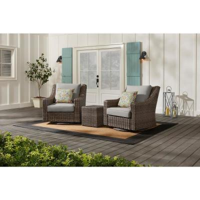 Rock Cliff Brown Wicker Outdoor Patio Swivel Rocking Chair with CushionGuard Stone Gray Cushions (2-Pack)