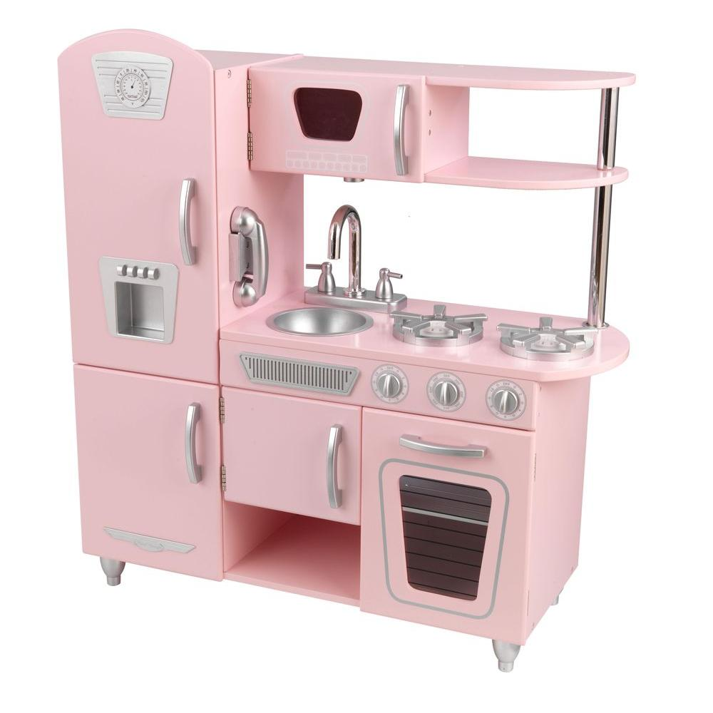 Kidkraft pink vintage kitchen playset 53179 the home depot for House kitchen set