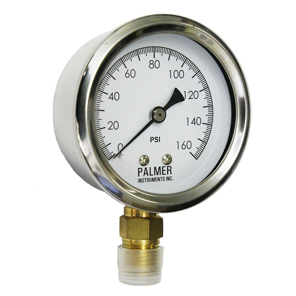 Palmer Instruments 2.5 in. Dial 160 psi Stainless Steel Case Utility Gauge