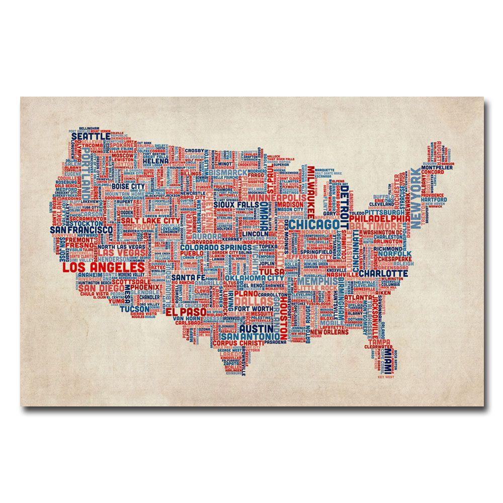 Trademark Fine Art 16 in. x 24 in. US Cities Text Map V Canvas Art