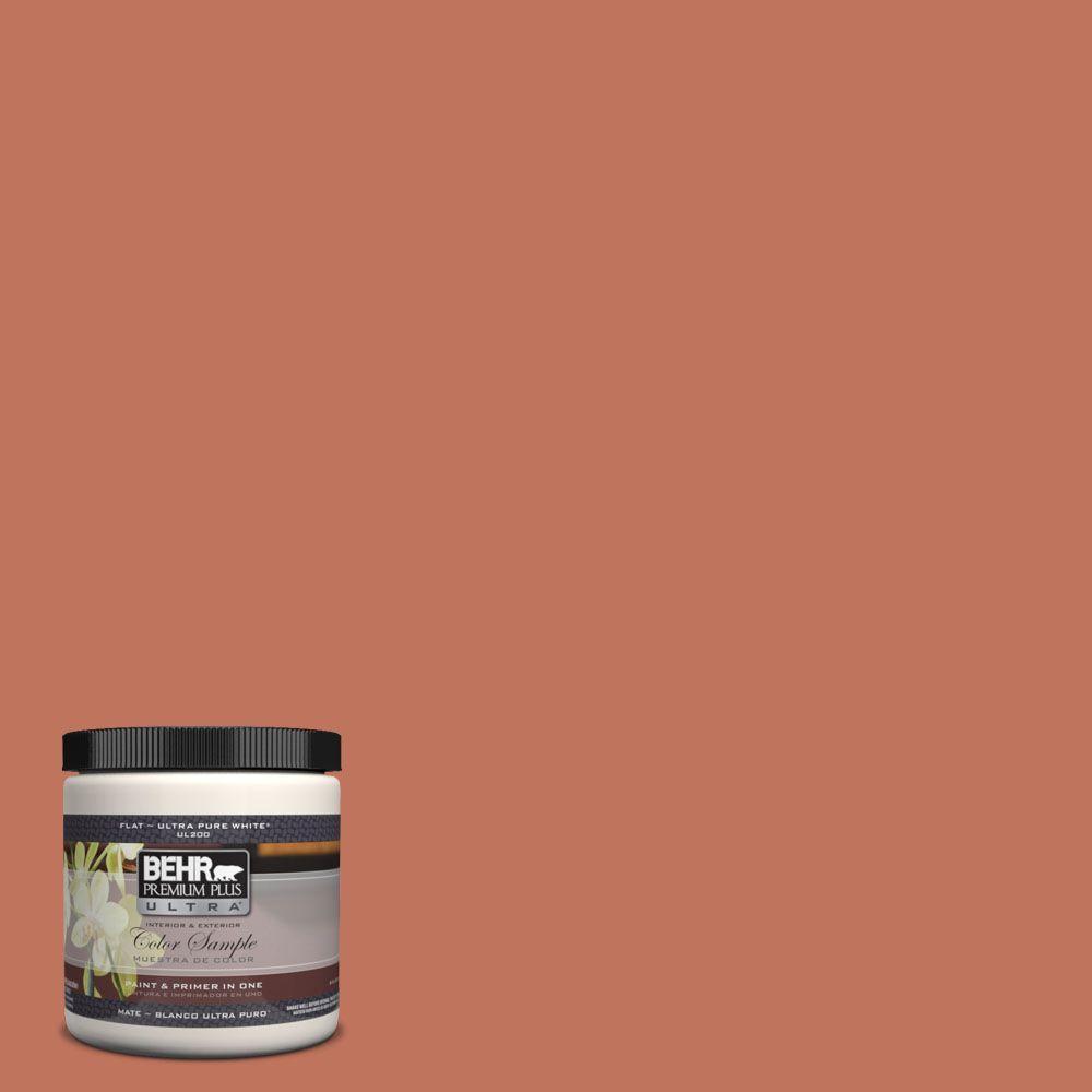 BEHR Premium Plus Ultra 8 oz. #PMD-11 Warm Terra Cotta Flat Interior/Exterior Paint and Primer in One Sample