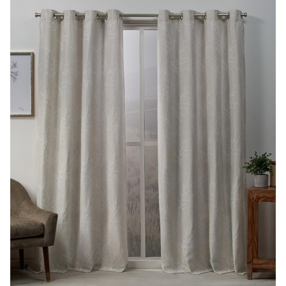 Stanton 54 in. W x 96 in. L Woven Blackout Grommet Top Curtain Panel in Linen (2 Panels)