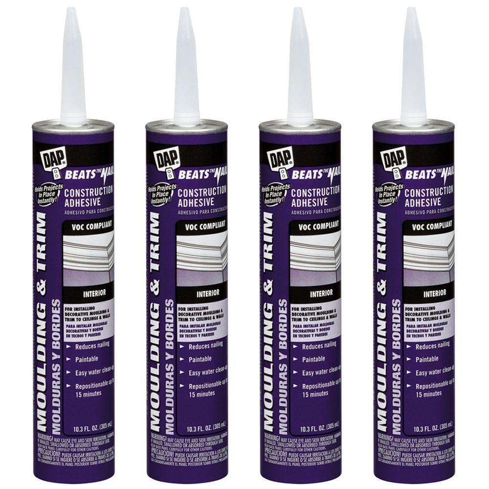 DAP 10.3-oz. White Beats The Nail Moulding and Trim Instant Grab Construction Adhesive (4-Pack)-DISCONTINUED