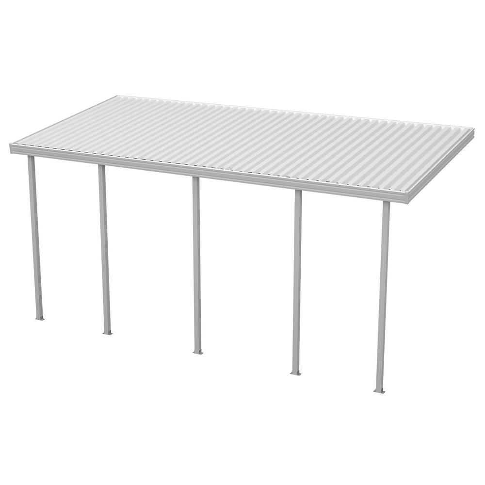 Aluminum patio covers home depot Chair White Aluminum Attached Solid Patio Cover With 5posts Maximum Roof Load 30 Lbs The Home Depot Integra Ft 26 Ft White Aluminum Attached Solid Patio Cover