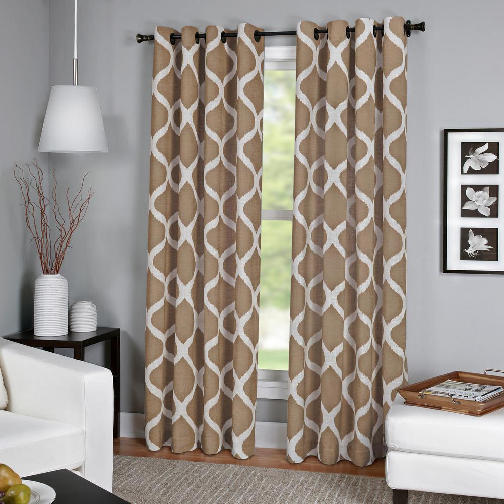 Luna Natural Linen Look Window Curtain - 52 in. W x 84 in. L