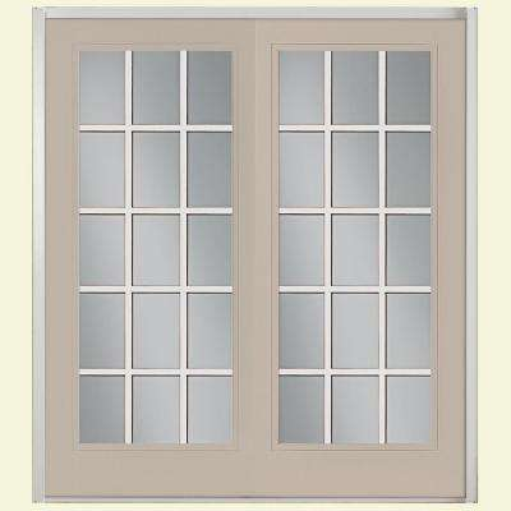 Prehung 15 Lite Primed Steel Patio Door with No Brickmold