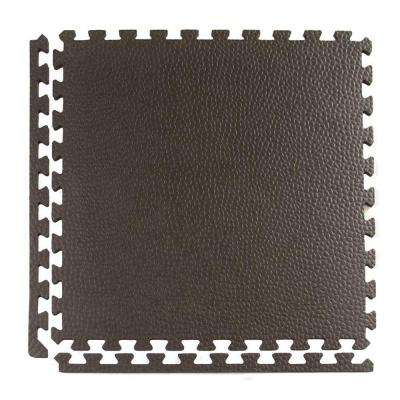 Pebble Top Lite Black 24 in. x 24 in. x 0.39 in. Foam Home Gym Interlocking Floor Tile (Case of 25)