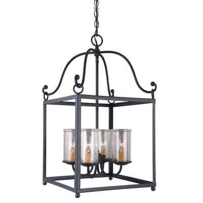 Declaration 4-Light Antique Forged Iron Pendant  sc 1 st  The Home Depot & Black - Lantern - Pendant Lights - Lighting - The Home Depot azcodes.com