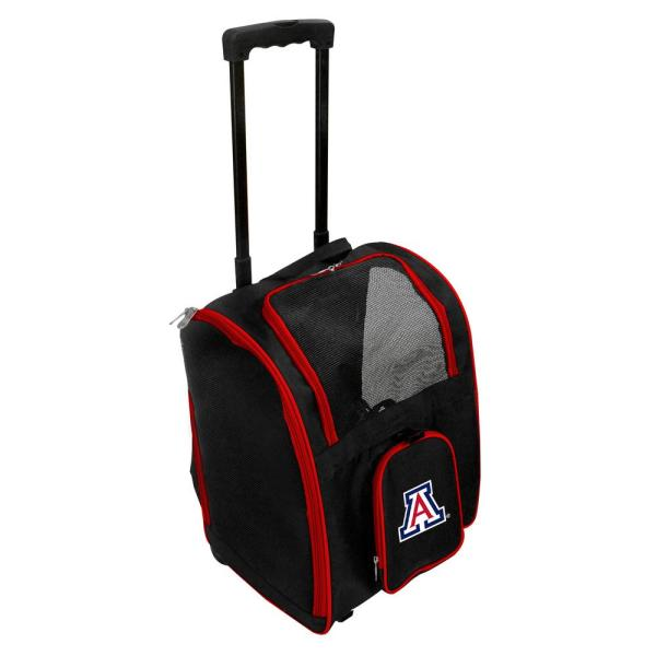 Denco NCAA Arizona Wildcats Pet Carrier Premium Bag with wheels in