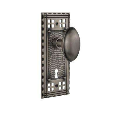 Craftsman Plate with Keyhole Double Dummy Homestead Door Knob in Antique Pewter