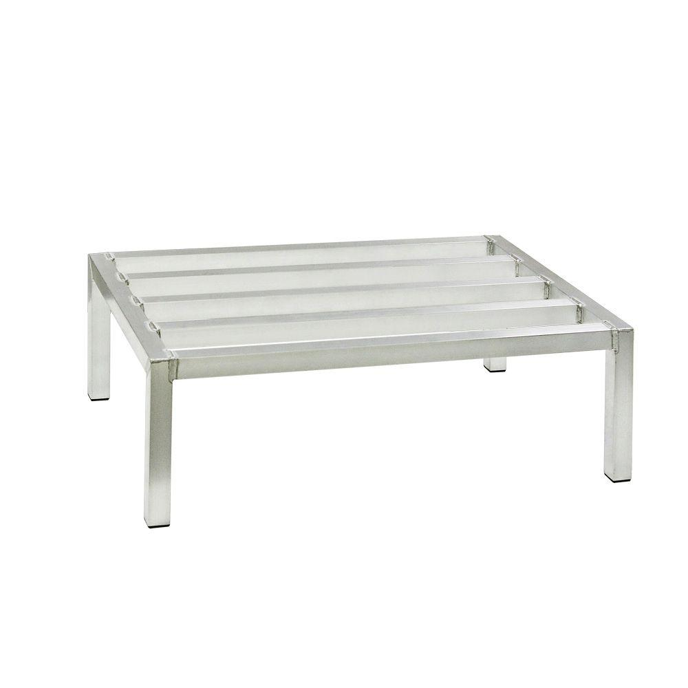 New Age Industrial 24 in. D x 36 in. L x 12 in. H Aluminum Stationary Dunnage Rack