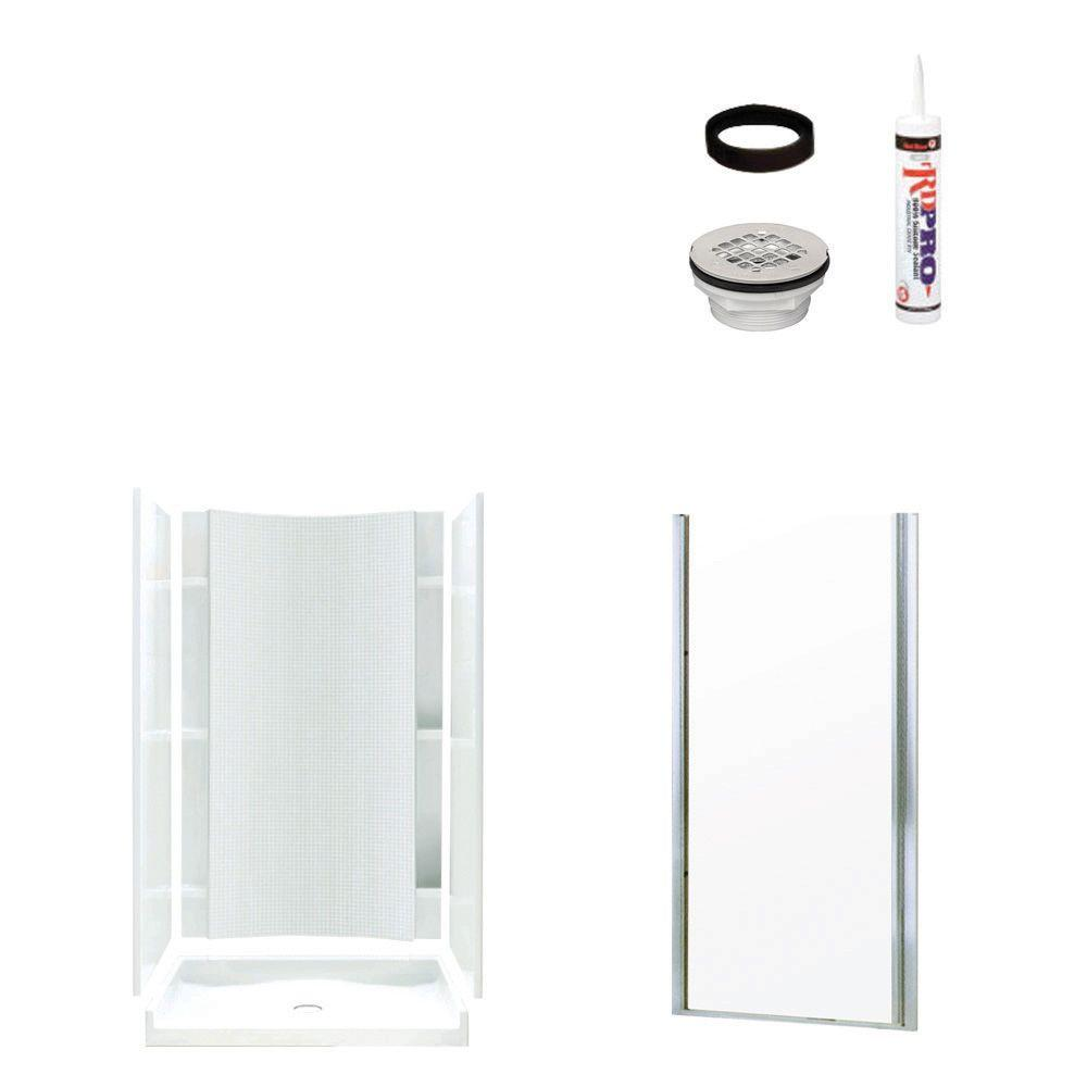STERLING Accord 36 in. x 42 in. x 77 in. Shower Kit with Shower Door in White/Chrome-DISCONTINUED