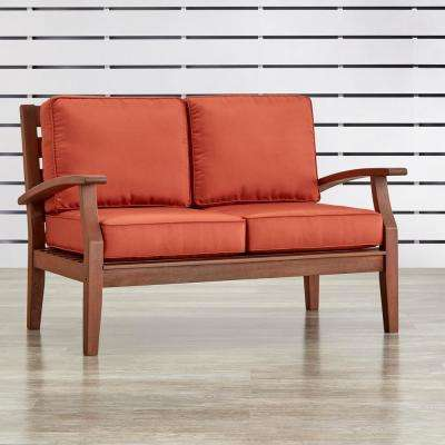 Verdon Gorge Brown Oiled Wood Outdoor Loveseat with Red Cushions