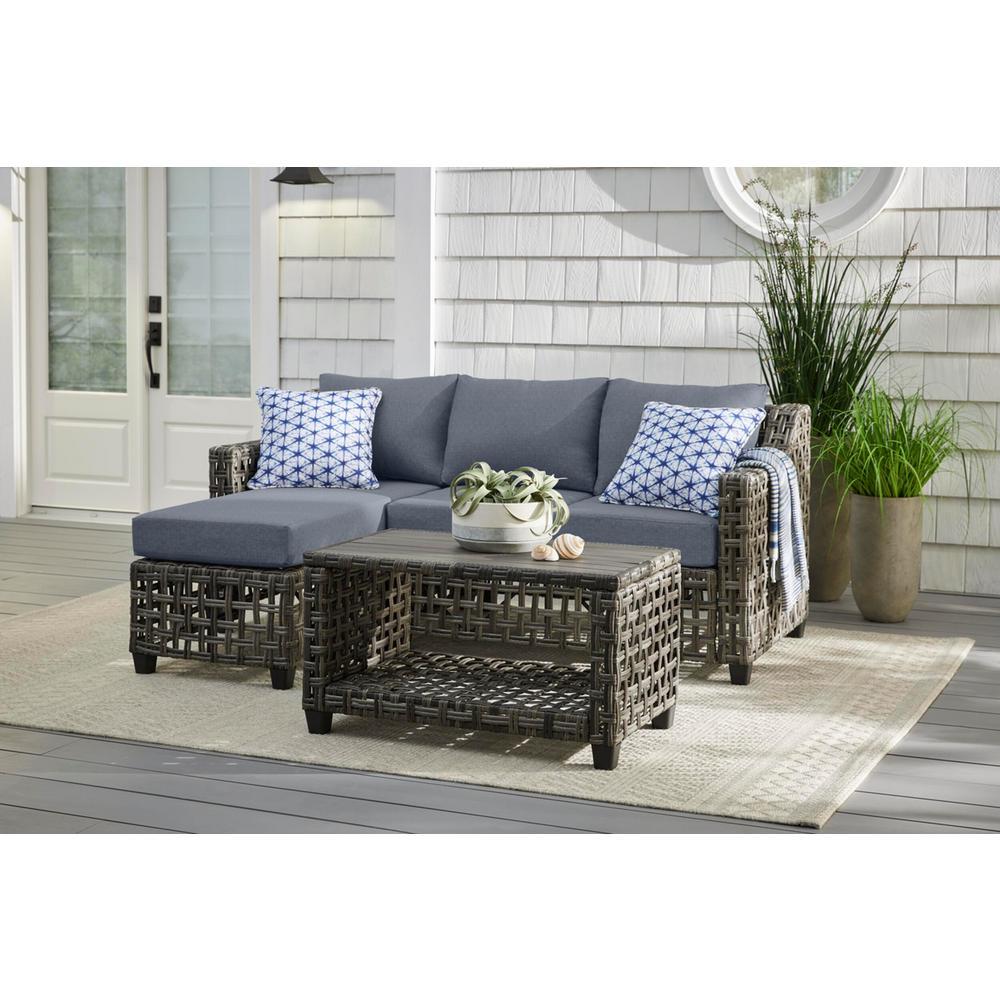 Briar Ridge 3-Piece Brown Wicker Outdoor Patio Sectional Sofa with CushionGuard Steel Blue Cushions