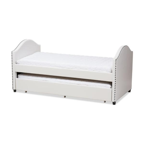 Baxton Studio Alessia Contemporary White Faux Leather Upholstered Twin Size Daybed