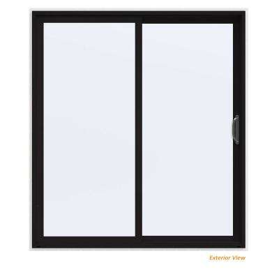 72 in. x 80 in. V-4500 Contemporary Black Painted Vinyl Right-Hand Full Lite Sliding Patio Door w/White Interior