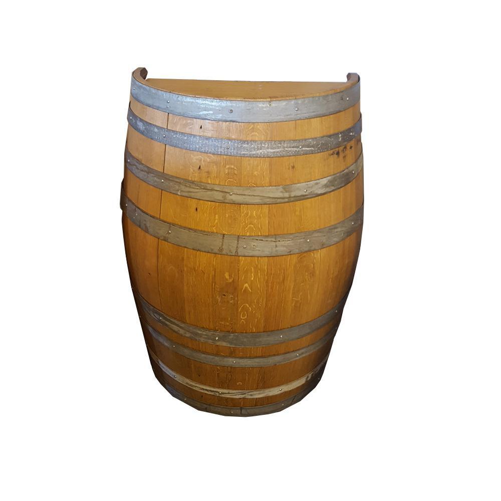 26 in w x 35 in h unfinished oak wood split wine barrel