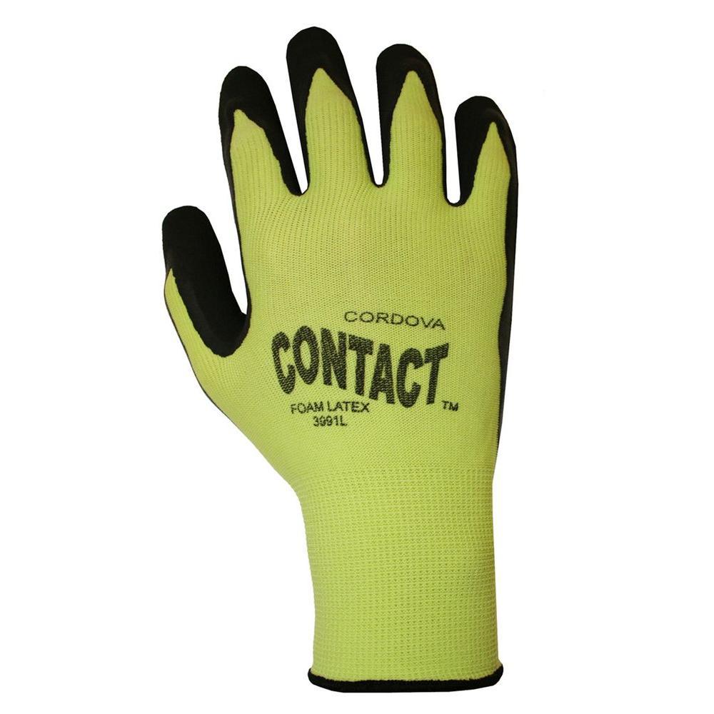 CONTACT Hi-Vis Lime Green Large Work Glove Nylon Shell Black Foam Latex Palm