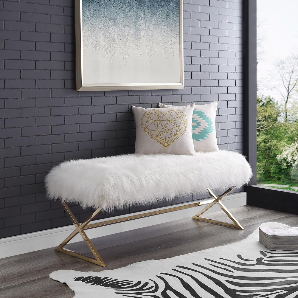 Elora Metal X-Leg White/Gold Faux Fur Bench