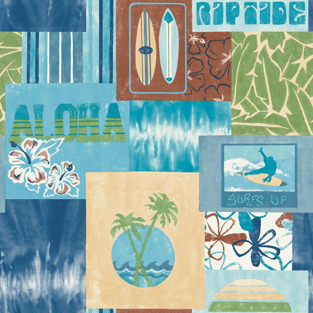 The Wallpaper Company 56 sq. ft. Blue and Green Surf's Up Wallpaper