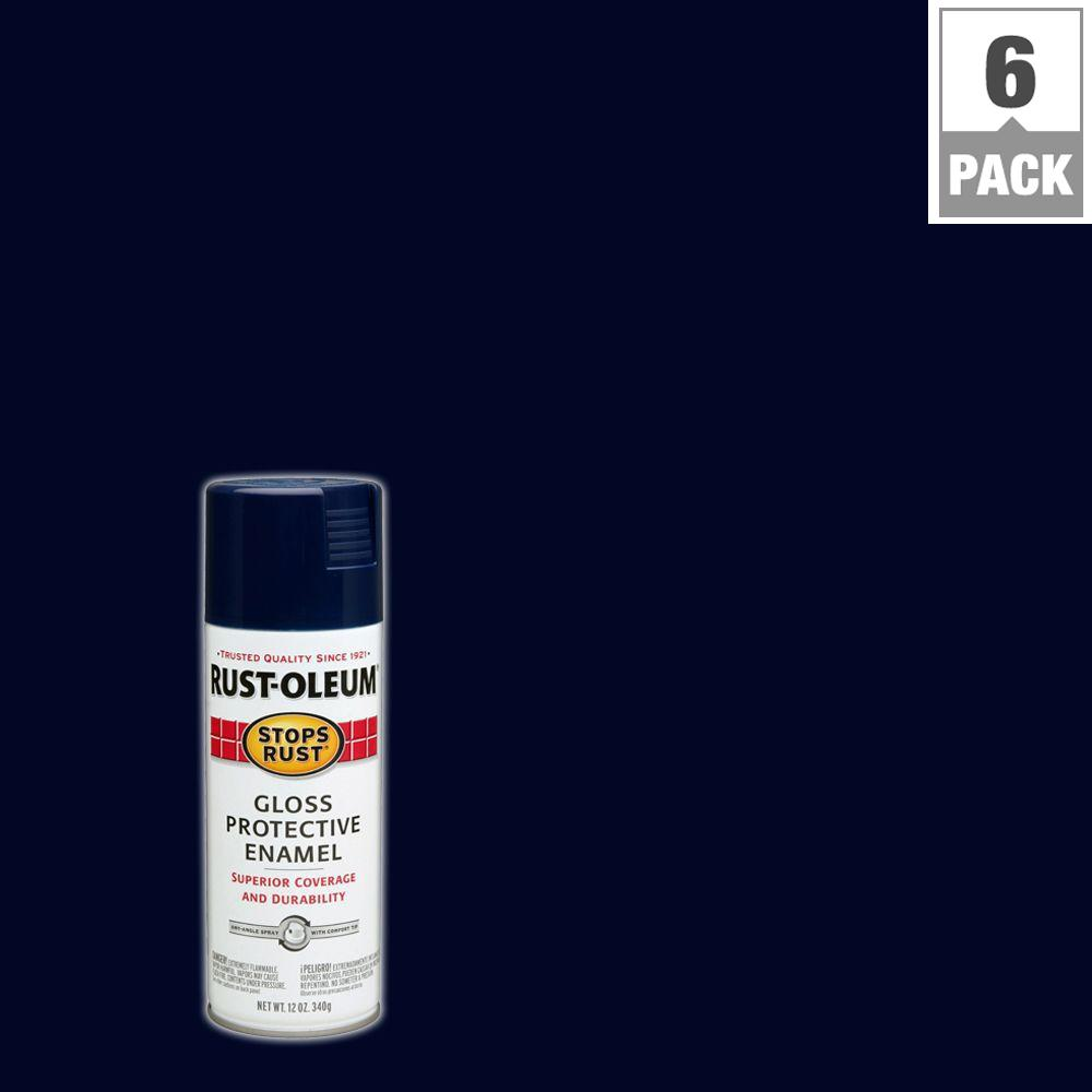 12 oz. Protective Enamel Gloss Navy Blue Spray Paint (6-Pack)