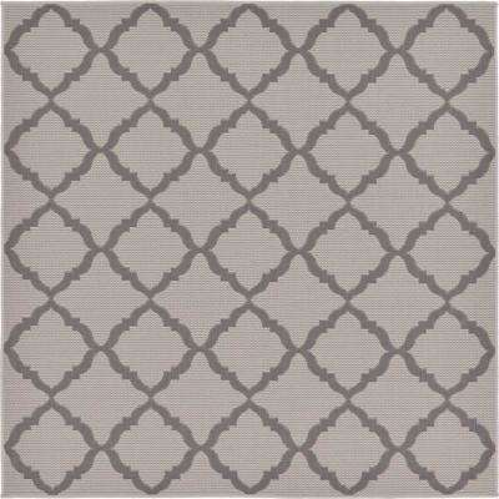 Outdoor Trellis Gray 6' 0 x 6' 0 Square Rug