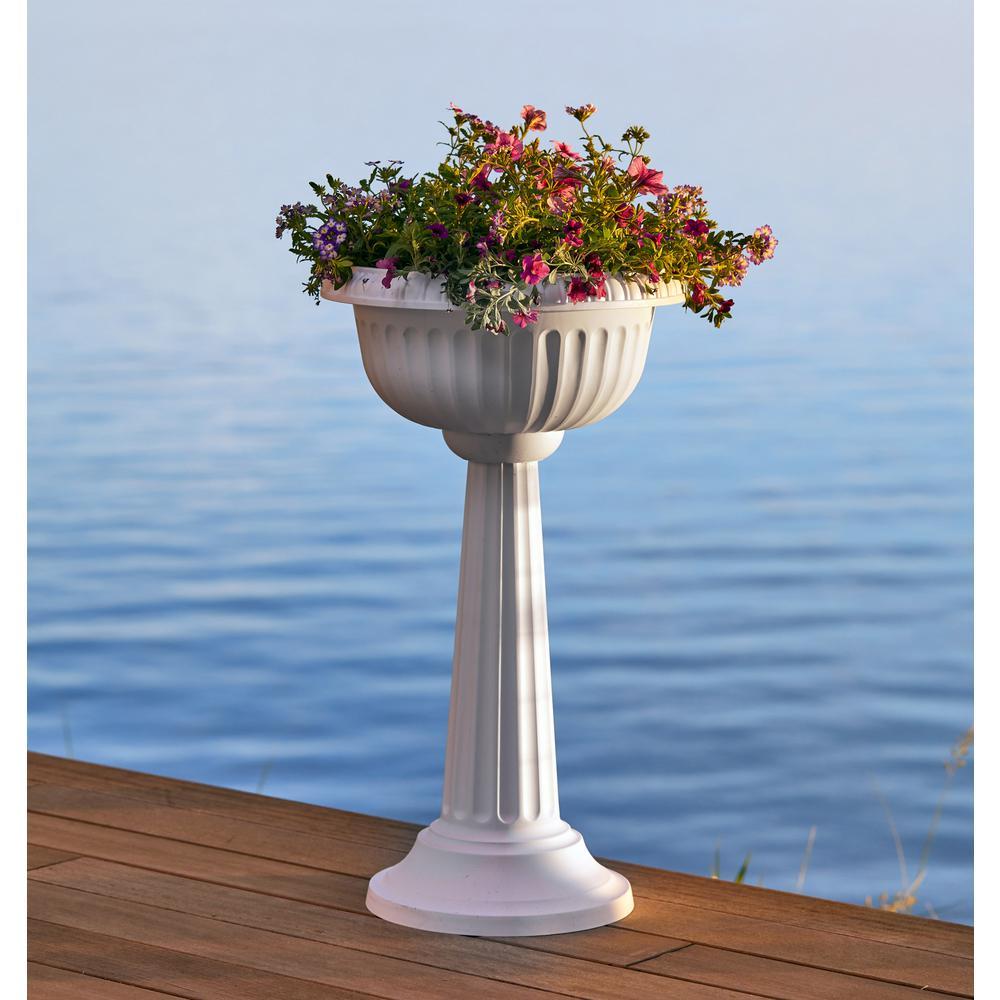 Grecian 32 in. Charcoal Plastic Urn Tall Pedestal Planter