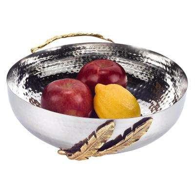 6.5 in. Feathers Stainless Steel and Brass Round Serving Bowl