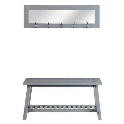 Stanton Grey Bench and Mirror