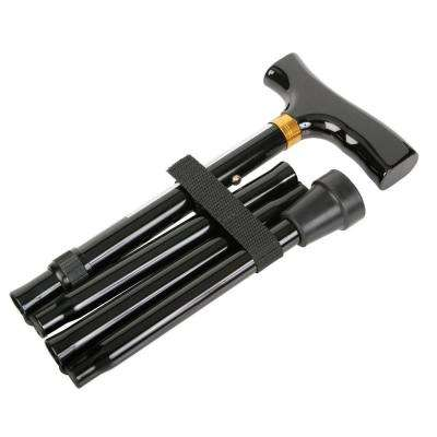 Folding T-Handle Aluminum Cane in Black