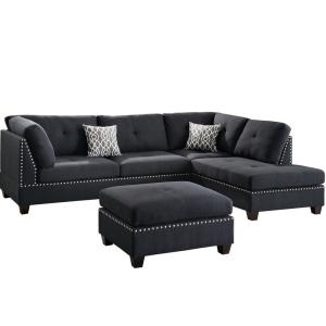 Incredible Venetian Worldwide Florence Black Sectional Sofa With Pabps2019 Chair Design Images Pabps2019Com