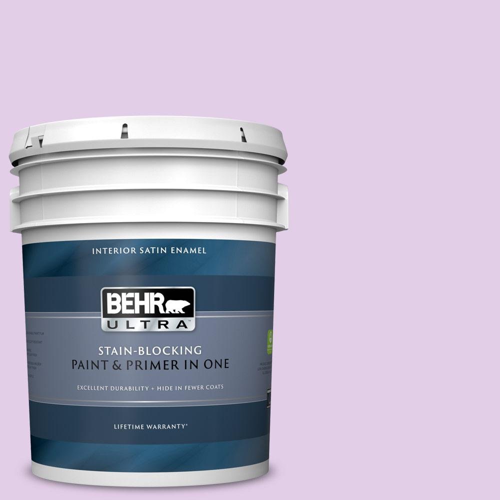 Behr Ultra 5 Gal P100 2 Sweet Romance Satin Enamel Interior Paint And Primer In One 775005 The Home Depot