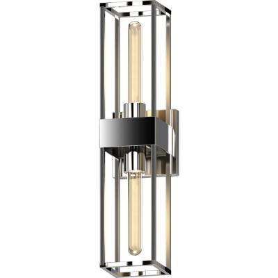 2-Light Polished Nickel Indoor 3D Square Rectangle Prism Bath or Vanity Light Bar, Wall Mount or Wall Sconce