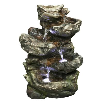Log Waterfall 4 Level with LED Fountain