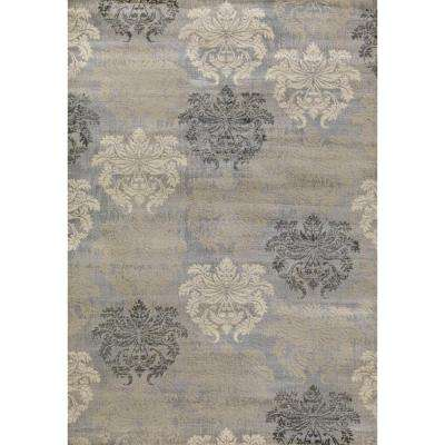 Lumina Damask Grey 8 ft. x 11 ft. Area Rug