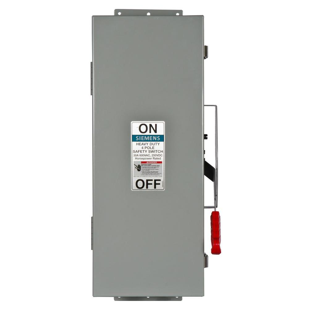 Siemens Heavy Duty 30 Amp 600-Volt 4-Pole Type 12 Non-Fusible Safety ...